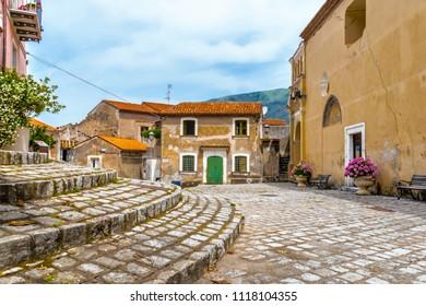 MARATEA, ITALY, CALABRIA - The church square with main entrance of the ancient Basilica of Santa Maria Maggiore in the old town of Maratea on the coast of Tyrrhenian Sea (Mar Tirreno) in Italy.