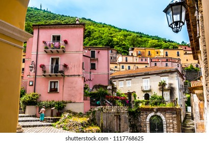 MARATEA, ITALY, CALABRIA - The old town of Maratea with narrow streets and stairs on the coast of Tyrrhenian Sea (Mar Tirreno) in the south of Italy