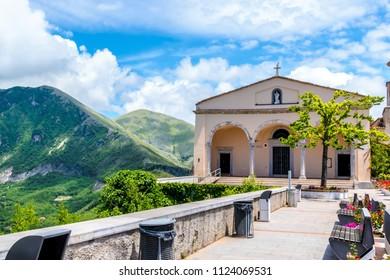MARATEA, ITALY - A catholic church the basilica on the mountain San Biagio at Maratea at the Tyrrhenian seacoast in the south of Italy.