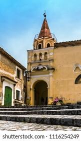 MARATEA, ITALY - The church square with main entrance of the old basilica Santa Maria Maggiore in the old town of Maratea in the south of Italy.