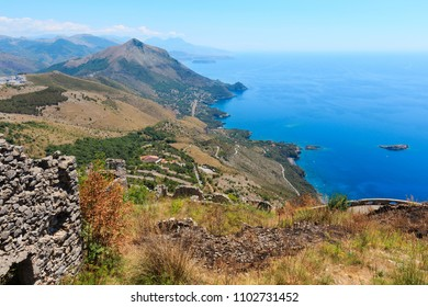 MARATEA, ITALY - JUNE 20, 2017: Summer Tyrrhenian sea coast view from San Biagio mountain hill (road to statue of Christ the Redeemer) and ancient town ruins.