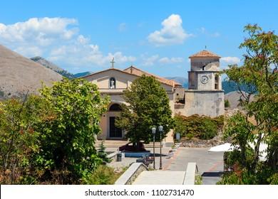 MARATEA, ITALY - JUNE 20, 2017: The basilica and sanctuary of San Biagio is the main place of Catholic worship in the municipality of Maratea, Basilicata (San Biagio mountain, on Tyrrhenian sea coast)