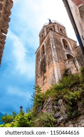 MARATEA, ITALY - The most famous belfry of the church Basilica of Santa Maria Maggiore in the old town of Maratea. on the Tyrrhenian sea coast in the south of Italy.