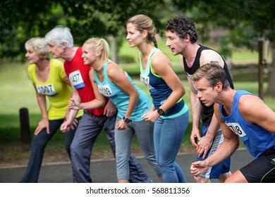 Marathon athletes on the starting line in park