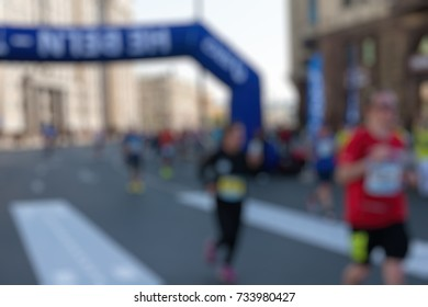 Marathon in the city theme creative abstract blur background with bokeh effect