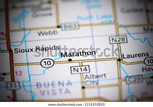 Marathon. Iowa. USA on a map