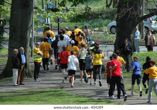 marathon in a park
