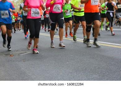 Marathon runners, blurred motion