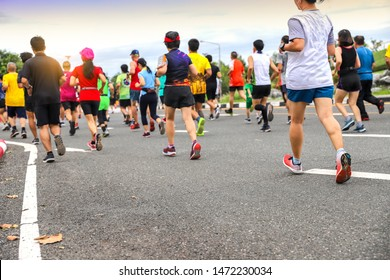 Marathon runners Crowd People Race Outdoor at the park, Sport Training