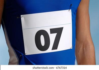 Marathon runners entry number.