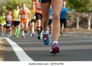 Marathon runners race