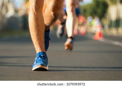 Marathon running in the light of evening,detail of sports shoes