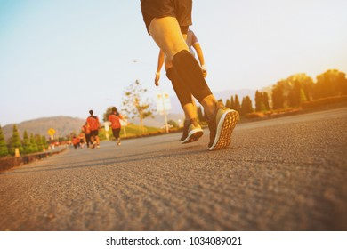 Marathon running race, Run up the mountain road. with copy space.