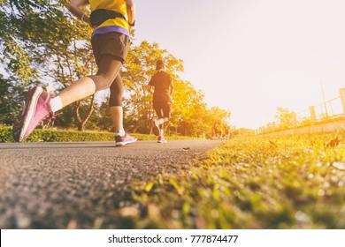 Marathon running race, Run up the mountain road.