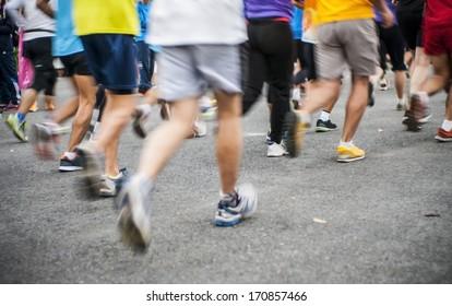 marathon start, shoes runner no face