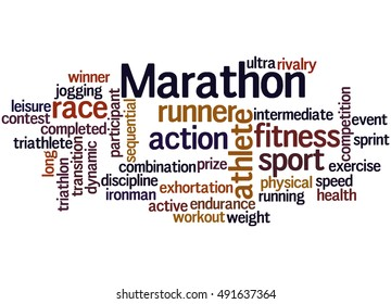 Marathon,word cloud concept on white background.