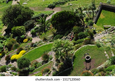 Marazion, Cornwall / UK - 09/15/2019: St Michael's Mount Garden from above.