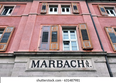 Marbach, Baden-Wurttemberg, Germany- April 19, 2017: Railway station old building with the name of the city of Marbach.