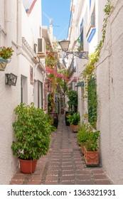 Marbella, Andalusia / Spain jul 5 2018: Old town Marbella, street