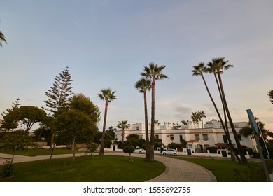 MARBELLA, MALAGA / SPAIN - 04.10.2019: streets of the city of Marbella, Mediterranean architecture in Spain. Marbella malaga spain street view with traffic during day time.
