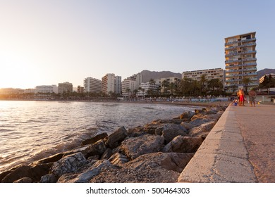 MARBELLA, MALAGA / SPAIN - AUGUST 26, 2012: Sunset at the end of August at the coast of Marbella, in southern Andalucia, Spain