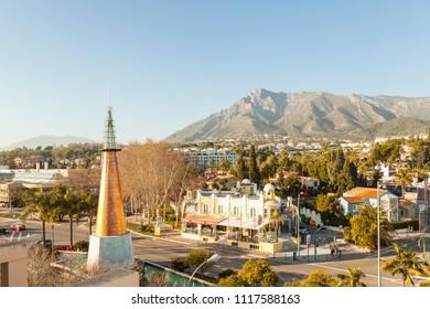 "MARBELLA, MALAGA / SPAIN - January 19, 2018: Views to ""La Concha"" Mountain near Marbella, in southern Andalucia, Spain"