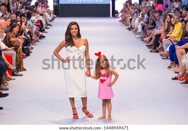 Marbella, Malaga / Spain - July 11 2019 : Marbellla Fashion Show Charity Event in Puerto Banus Marbella with Eva Longoria as ambassador Guest. Global Gift Foundation and Eva Longoria Fondation.