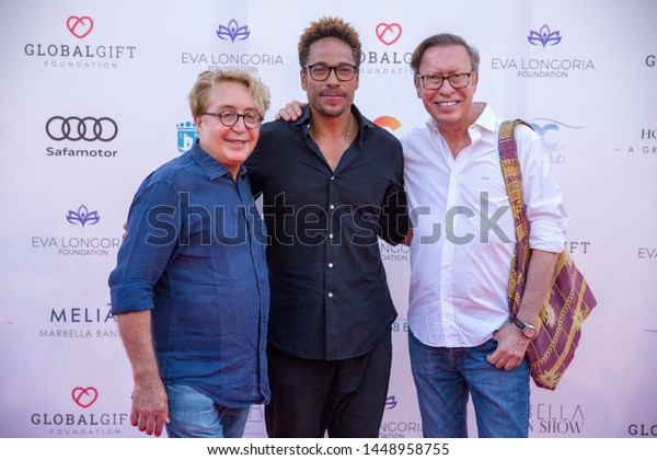 Marbella, Malaga / Spain - July 11 2019 : Marbella Fashion Show Charity Event in Puerto Banus Marbella with Gary Dourdan as guest and Victorio y Lucchino