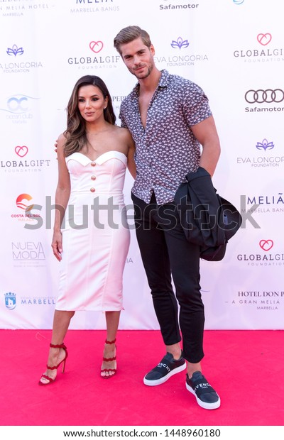 Marbella, Malaga / Spain - July 11 2019 : Marbellla Fashion Show Charity Event in Puerto Banus Marbella with Eva Longoria as ambassador Guest and Giovanni Bonamy