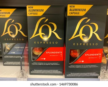 marbella, malaga/spain - 01 08 2019: LOR coffee capsules on grocery store shelf in spain, cheap substitute for nespresso capsules