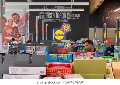 marbella, malaga/spain - 01 08 2019: view over cash registers at lidl grocery stores