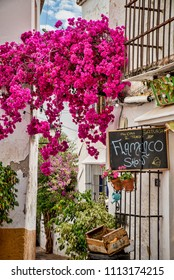 Marbella old town with a billboard announcing a flamenco show