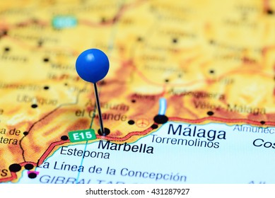 Marbella pinned on a map of Spain