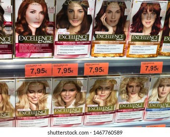 Marbella, Spain - 07 29 2019: Variety Loreal Paris Excellence Creme Colour Hair product on supermarket shelf in Spanish supermarket Mercadona, Loreal is the world largest cosmetics company,