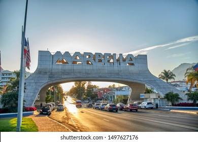 Marbella, Spain; 09.02.2019: Entrance to the city of Marbella
