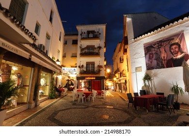 MARBELLA, SPAIN - APR 1: Square in the old town of Marbella at night. April 1, 2013 in Marbella, Costa del Sol,  Andalusia, Spain