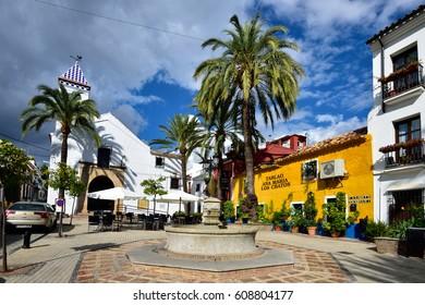MARBELLA, SPAIN - APRIL 20, 2016: Marbella Old Town - Plaza Santo Cristo