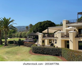 Marbella, Spain - August 5 2021: Club house at the Los Naranjos golf course in Nueva Andalucia