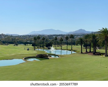 Marbella, Spain - August 5 2021: The Los Naranjos golf course in Nueva Andalucia