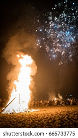 MARBELLA, SPAIN - JUNE 23, 2017: Celebrating San Juan on the beach in Marbella, Costa del Sol, Spain. Bonfires are lit and Flaming Lanterns released to mark the beginning of Summer