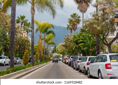 Marbella, Spain - May 4, 2018: street with cars in Marbella. Andalusia