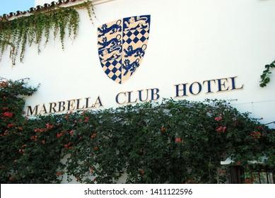 MARBELLA, SPAIN - NOVEMBER 12, 2008 - View of the Marbella Club sign, Marbella, Costa del Sol, Malaga Province, Andalucia, Spain, Europe, November 12, 2008.