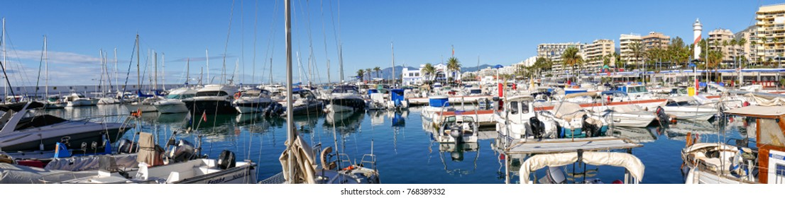 Marbella,Spain.November 05 2016 Boats in the Marina in the stylish resort of Marbella on the Costa Del Sol in Andalucia Spain