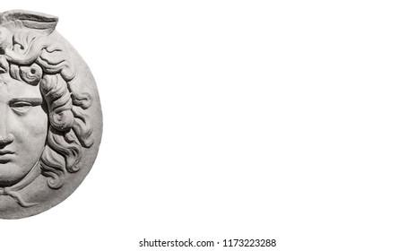 Marble ancient head of Greek mythological Medusa at isolated white background streamer with paste space