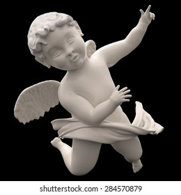 Marble Angel Chubby Male Child Winged. Baroque Putto Figure. Cherubim. Isolated on Black