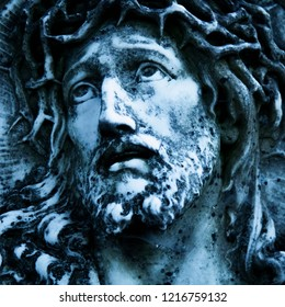 Marble antique beautiful statue  of suffering of Jesus Christ crown of thorns. Religious tradition.