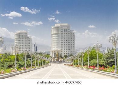 Marble avenue in Ashgabat, Turkmenistan