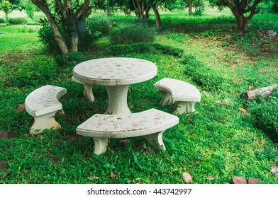 Marble bench and table in the garden