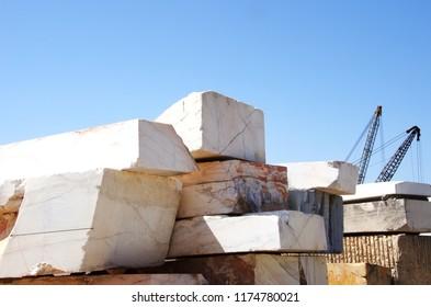 Marble blocks and  crane on quarry