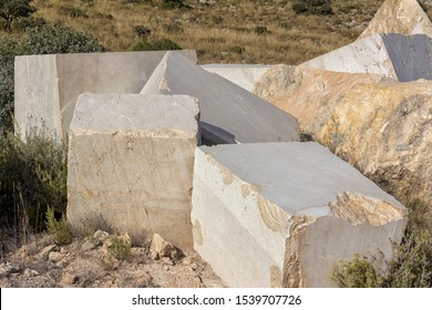 Marble blocks over the floor of the quarry in Andalusia (Spain)